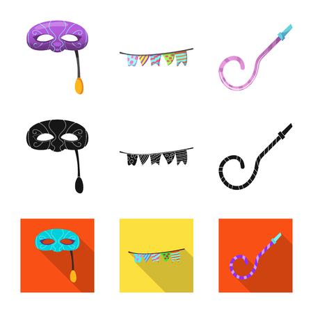 Vector illustration of party and birthday symbol. Collection of party and celebration stock vector illustration.  イラスト・ベクター素材