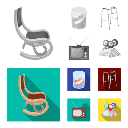 Denture, rocking chair, walker, old TV.Old age set collection icons in monochrome,flat style vector symbol stock illustration web. Illustration