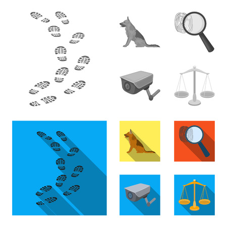 Traces on the ground, service shepherd, security camera, fingerprint. Prison set collection icons in monochrome,flat style vector symbol stock illustration web.