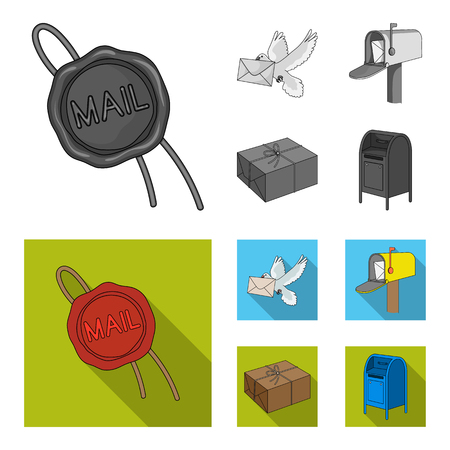 Wax seal, postal pigeon with envelope, mail box and parcel.Mail and postman set collection icons in monochrome,flat style vector symbol stock illustration web. Archivio Fotografico - 107621319