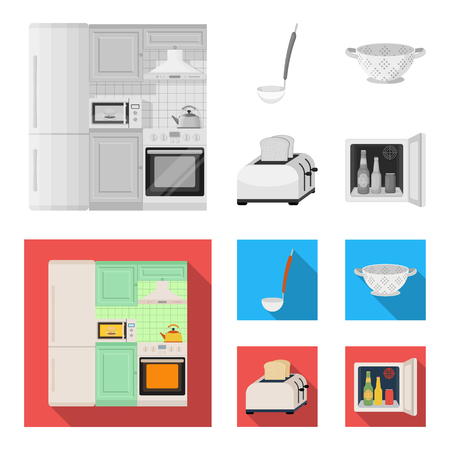 Kitchen equipment monochrome,flat icons in set collection for design. Kitchen and accessories vector symbol stock web illustration.