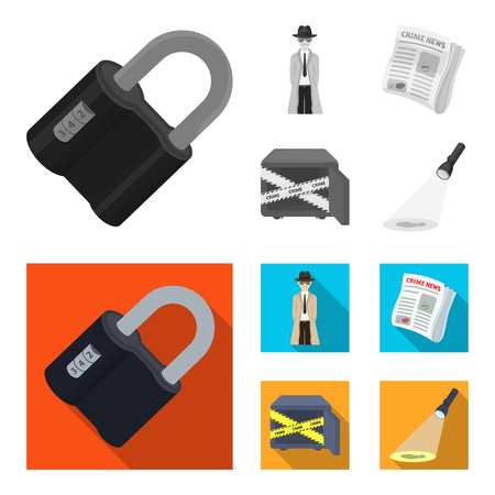 Coded lock, the appearance of the detective, a newspaper with criminal news, a hacked safe. Crime and detective set collection icons in monochrome,flat style vector symbol stock illustration web. Illustration