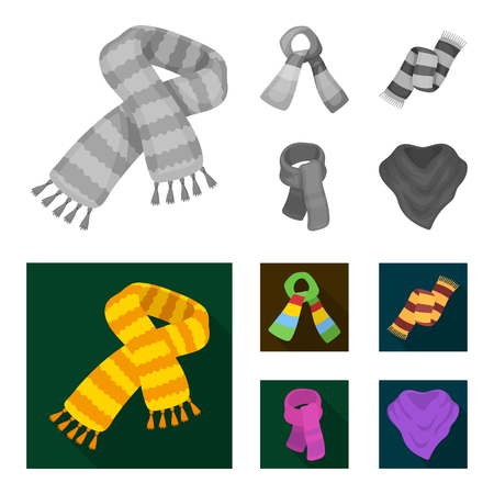 Various kinds of scarves, scarves and shawls. Scarves and shawls set collection icons in monochrome,flat style vector symbol stock illustration web.