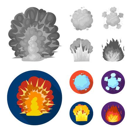 Flamme, étincelles, fragments d'hydrogène, explosion atomique ou gazeuse. Explosions définir des icônes de la collection en monochrome, style plat vecteur symbole stock illustration web. Vecteurs