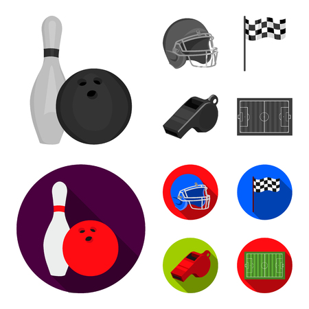 Bowl and bowling pin for bowling, protective helmet for playing baseball, checkbox, referee, whistle for coach or referee. Sport set collection icons in monochrome,flat ,flat style vector symbol stock illustration web.