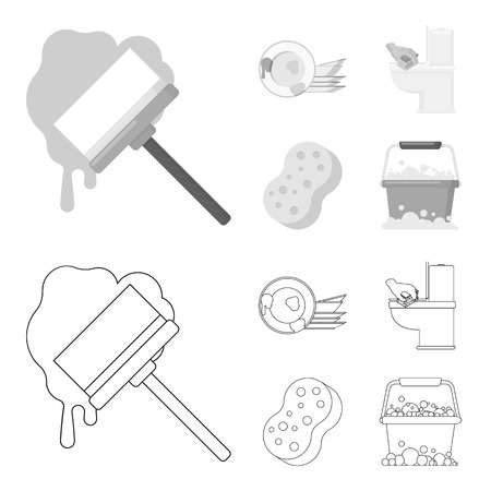 Cleaning and maid outline,monochrome icons in set collection for design. Equipment for cleaning vector symbol stock web illustration.