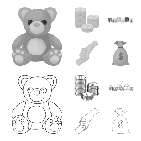A pile of coins for donations, colored cubes with an inscription, a handshake, a bag of money for donations. Charity and donation set collection icons in outline,monochrome style vector symbol stock illustration web.