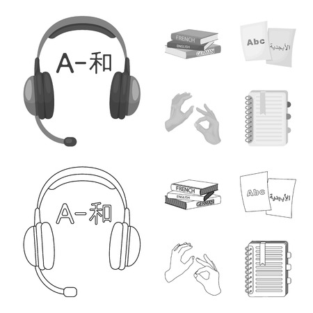 A pile of books in different languages, sheets of paper with translation, a gesture of deaf mutes, a notebook with text. Interpreter and translator set collection icons in outline,monochrome style vector symbol stock illustration .