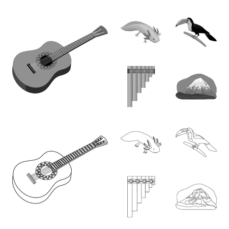 Sampono Mexican musical instrument, a bird with a long beak, Orizaba is the highest mountain in Mexico, axolotl is a rare animal. Mexico country set collection icons in outline,monochrome style vector symbol stock illustration web. Illustration
