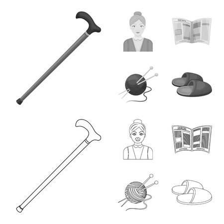 An elderly woman, slippers, a newspaper, knitting.Old age set collection icons in outline,monochrome style vector symbol stock illustration web.