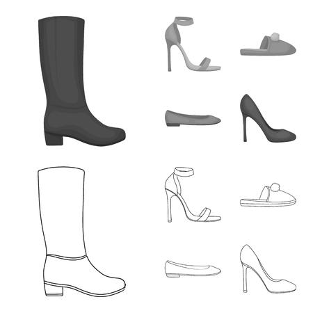 Sandali blu con i tacchi alti, pantofole lilla fatte in casa con un pampon, ballerine rosa da donna, scarpe marroni col tacco alto. Le scarpe hanno messo le icone dell'accumulazione nel profilo, web monocromatico dell'illustrazione delle azione di simbolo di vettore di stile.