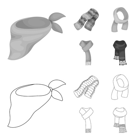 Various kinds of scarves, scarves and shawls. Scarves and shawls set collection icons in outline,monochrome style vector symbol stock illustration web.