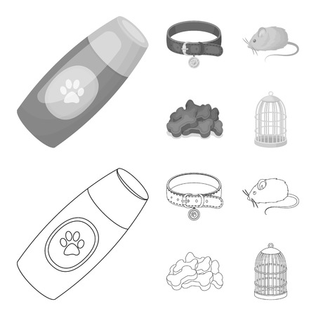 A collar, a forage, a toy, a cage and other products of the zoo store.Pet shop set collection icons in outline,monochrome style vector symbol stock illustration web.