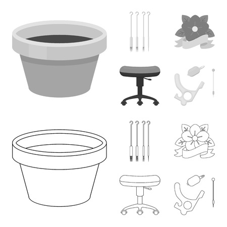Chair on rollers, needles for tattoo and other equipment. Tattoo set collection icons in outline,monochrome style vector symbol stock illustration web.