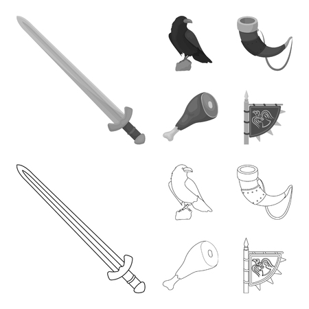Sitting crow, horn with drink, ham, victory flag. Vikings set collection icons in outline,monochrome style vector symbol stock illustration web. Illustration