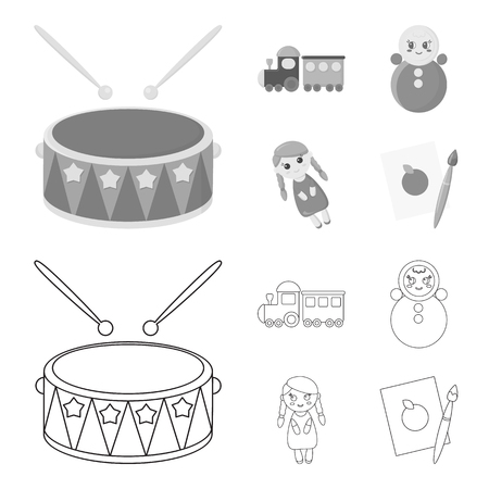Train.kukla, picture.Toys set collection icons in outline,monochrome style vector symbol stock illustration web.