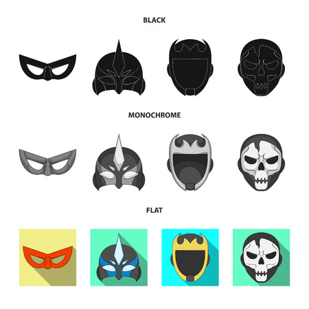 Vector design of hero and mask sign. Set of hero and superhero vector icon for stock. 矢量图像