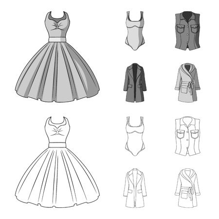 Women s Clothing outline,monochrome icons in set collection for design.Clothing Varieties and Accessories vector symbol stock web illustration.