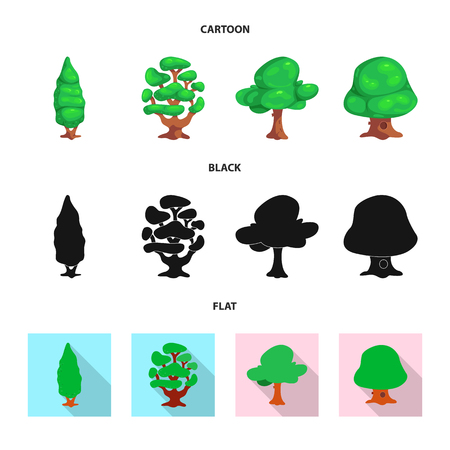 Vector illustration of tree and nature logo. Set of tree and crown stock symbol for web.