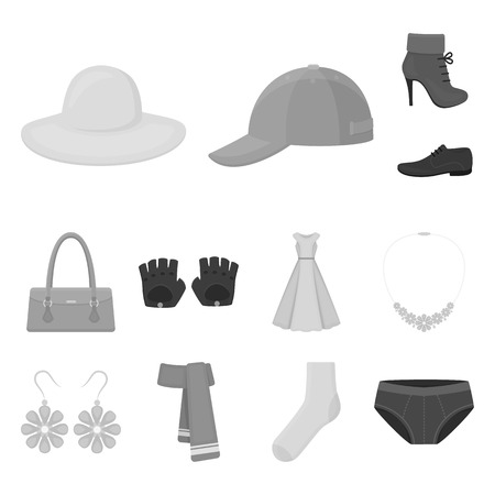 df9b808b483 Clothes and accessories monochrome icons in set collection for design.  Shoes and decoration vector symbol