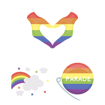 Gay and lesbian cartoon icons in set collection for design.Sexual minority and attributes vector symbol stock web illustration. Illustration