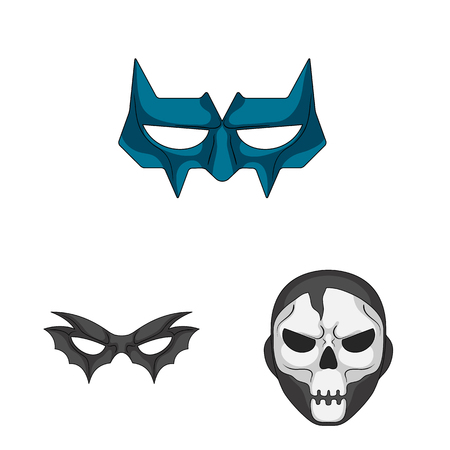 Isolated object of hero and mask logo. Set of hero and superhero stock symbol for web.