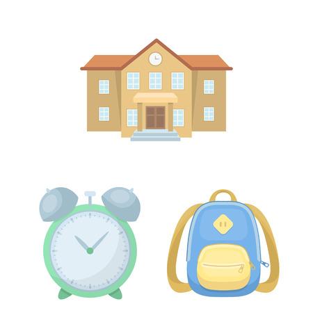 Escuela y educación, caricatura, iconos, en, conjunto, colección, para, design., Colegio, equipo, y, accesorios, vector, símbolo, acción, tela, illustration.