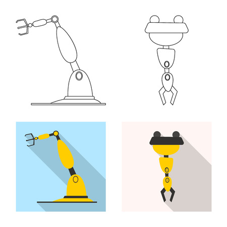 Vector illustration of robot and factory sign. Set of robot and space stock symbol for web. Illusztráció