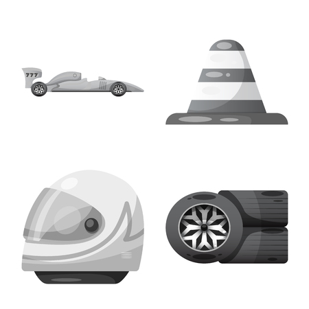 Vector design of car and rally icon. Set of car and race stock symbol for web. Stock Illustratie