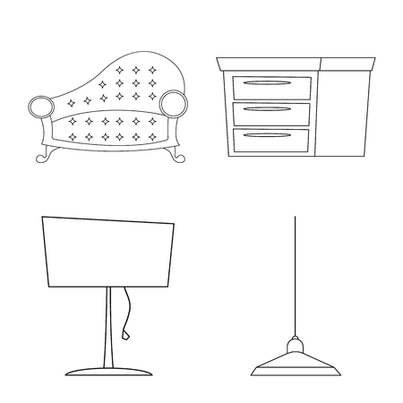 Vector design of furniture and apartment icon. Set of furniture and home stock symbol for web.