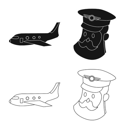 Isolated object of airport and airplane icon. Collection of airport and plane stock vector illustration.