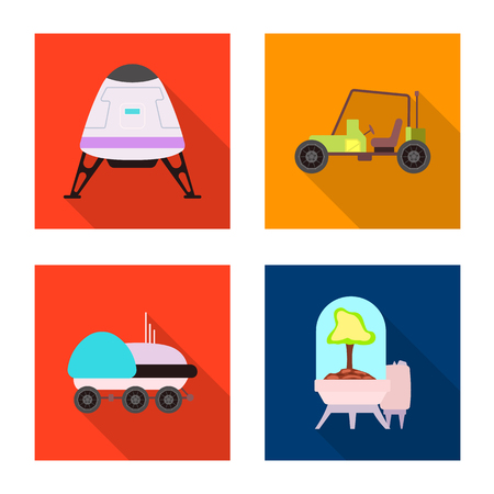 Vector illustration of mars and space icon. Collection of mars and planet vector icon for stock.