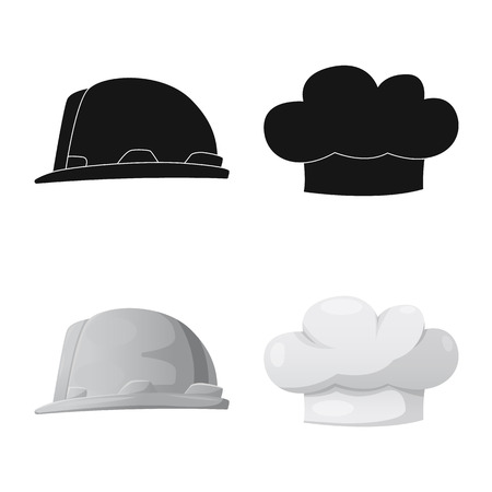 Vector illustration of headwear and cap sign. Set of headwear and accessory stock vector illustration.