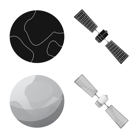 Vector illustration of mars and space logo. Collection of mars and planet vector icon for stock.