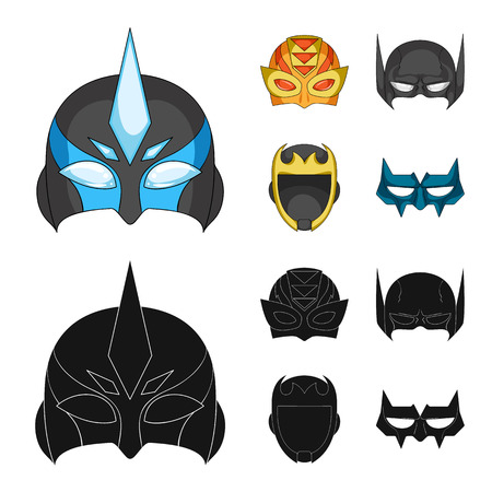 Isolated object of hero and mask sign. Set of hero and superhero stock symbol for web.