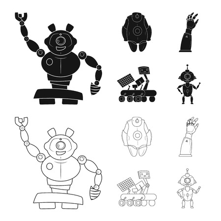 Isolated object of robot and factory sign. Collection of robot and space vector icon for stock.