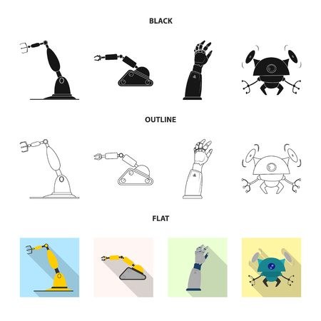 Vector design of robot and factory sign. Set of robot and space stock vector illustration. Illustration