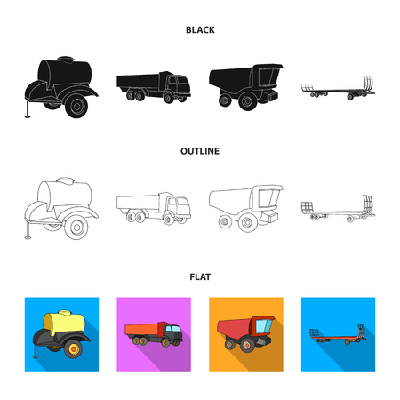 Trailer with a barrel, truck and other agricultural devices. Agricultural machinery set collection icons in black, flat, 向量圖像