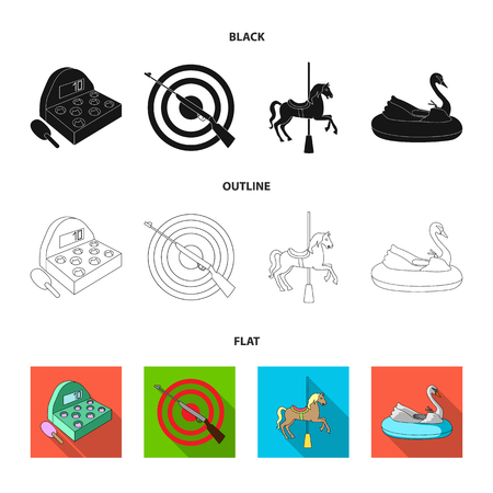 A game with a bat, a target with a gun, a horse on a carousel, a swan attraction. Amusement park set collection icons in cartoon style vector symbol stock illustration . Иллюстрация