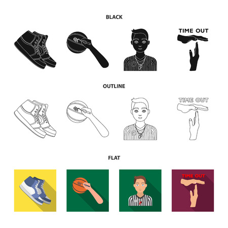 Basketball and attributes cartoon icons in set collection for design.Basketball player and equipment vector symbol stock  illustration. 일러스트