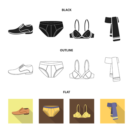 Male shoes, bra, panties, scarf, leather. Clothing set collection icons in cartoon style vector symbol stock illustration web.