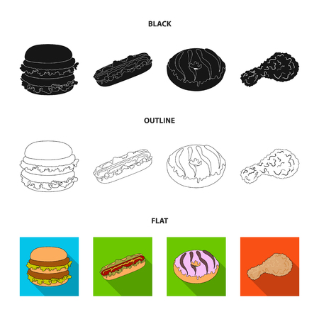 Fast ,food, meal, and other web icon in cartoon style.Hamburger, bun, flour, icons in set collection.