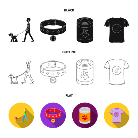 A man walks with a dog, a collar with a medal, food, a T-shirt I love dog.Dog set collection icons in cartoon style vector symbol stock illustration web.