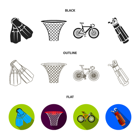 Flippers for swimming, basketball basket, net, racing holograph, golf bag. Sport set collection icons in cartoon ,flat style vector symbol stock illustration web.