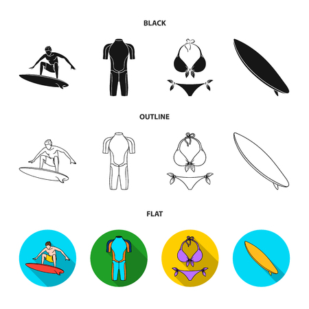 Surfer, wetsuit, bikini, surfboard. Surfing set collection icons in cartoon style vector symbol stock illustration web. Иллюстрация