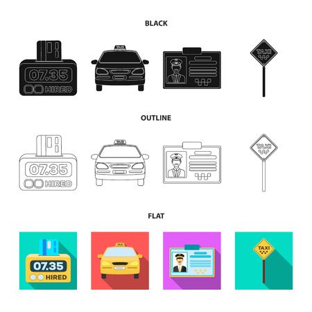 The counter of the fare in the taxi, the taxi car, the drivers badge, the parking lot of the car. Taxi set collection icons in cartoon style vector symbol stock illustration web.