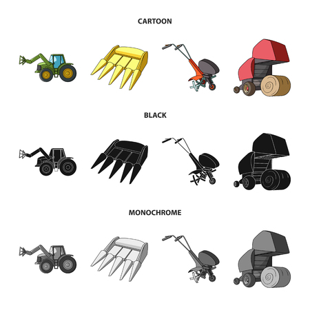 Motoblock and other agricultural devices. Agricultural machinery set collection icons in cartoon,black,monochrome style vector symbol stock illustration web. Illustration
