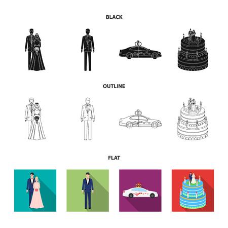 Bruiloft en kenmerken tekenfilm, plat, omtrek, zwart-wit pictogrammen in set collectie voor design. Jonggehuwden en accessoires symbool voorraad web vectorillustratie.