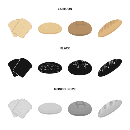 Toast, pizza stock, ruffed loaf, round rye.Bread set collection icons in cartoon,black,monochrome style vector symbol stock illustration web.