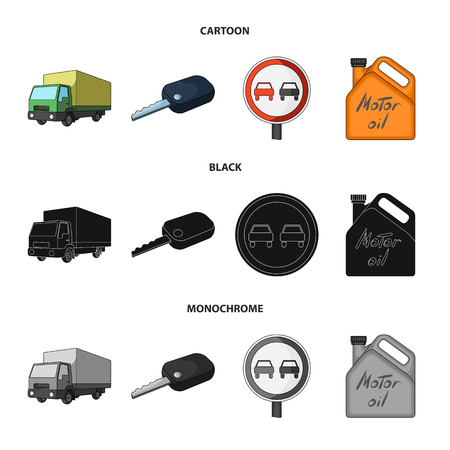 Truck with awning, ignition key, prohibitory sign, engine oil in canister, Vehicle set collection icons in cartoon,black,monochrome style vector symbol stock illustration web.